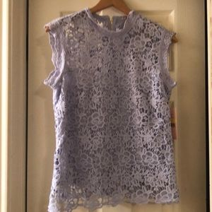 NANETTE LEPORE LACE BLOUSE WITH LINING, SIZE M